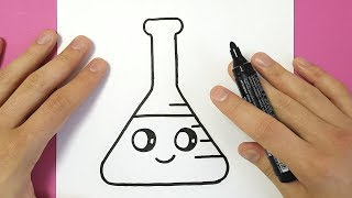 HOW TO DRAW AN ERLENMEYER FLASK CUTE AND EASY