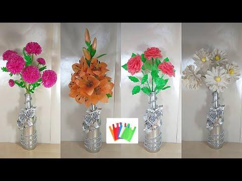 Как сделать цветок из мусорных пакетов своими руками