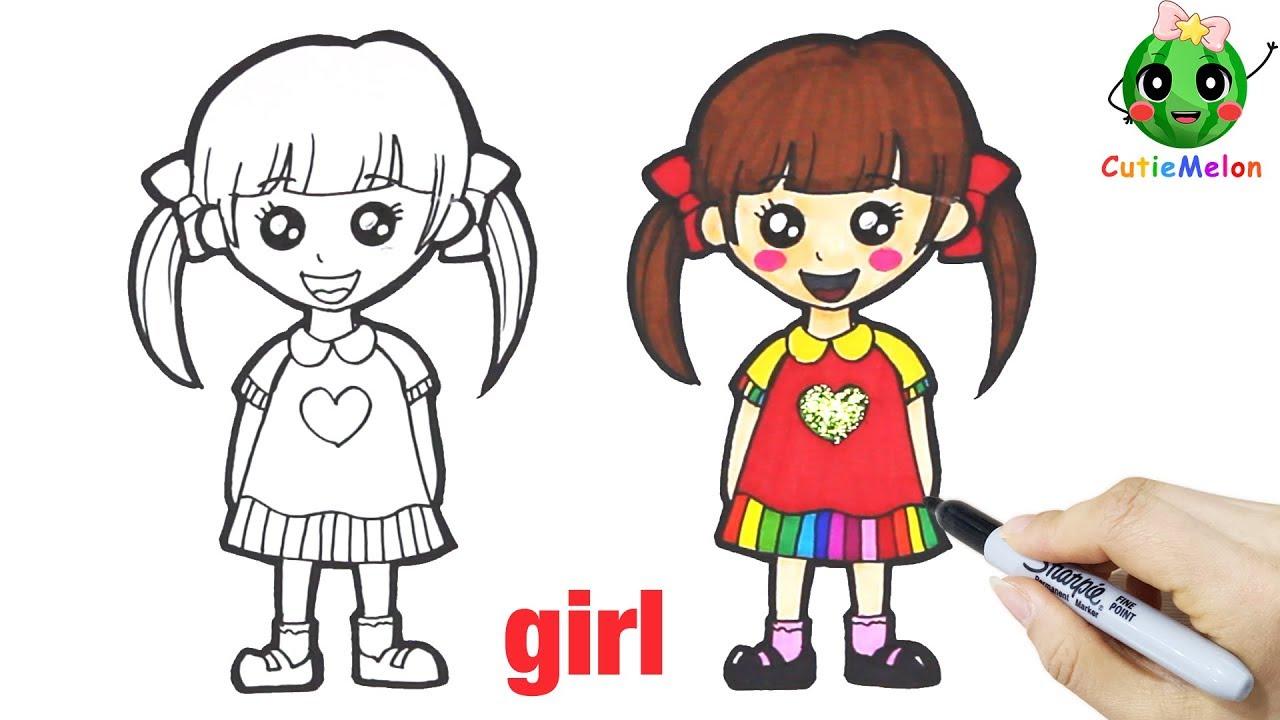 學畫自畫像的可愛小女孩 邊畫畫邊學英語 Drawing A Cute Little Girl With A Glitter Heart【西瓜寶寶學畫畫學英語】兒童 ...