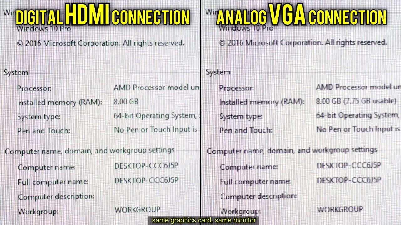 HDMI vs VGA (Digital vs Analog)