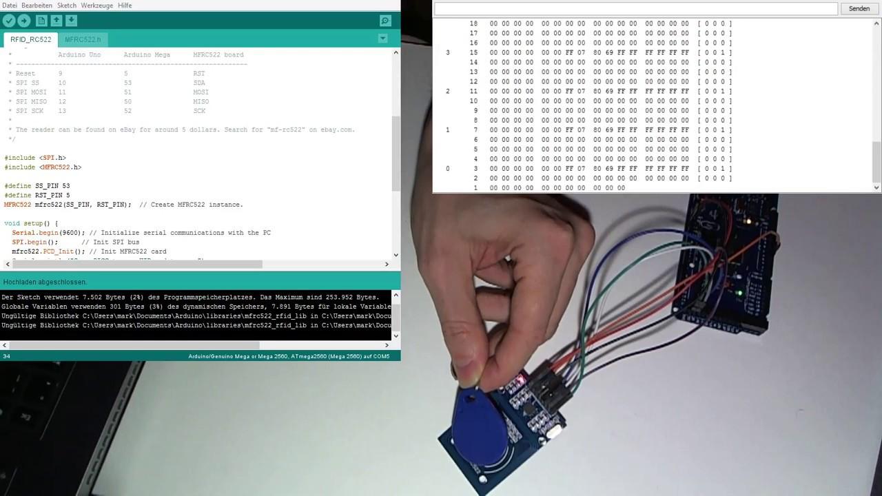Rfid rc mit dem arduino mega auslesen youtube