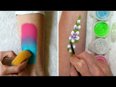 Learn how to use face paints, sponges & glitter - Face Painting Made Easy PART 2