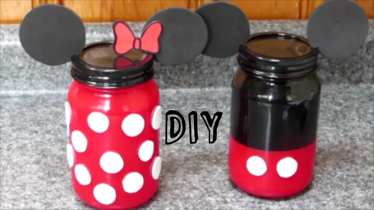 diy minnie y mickey mouse frascos de vidrio de minnie y mickey mouse youtube