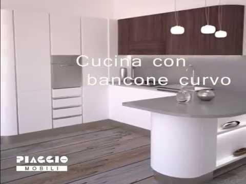 Cucina curva con bancone stondato - YouTube