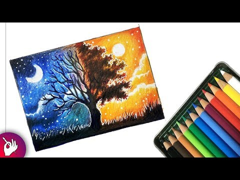 How to draw a scenery - Two different sides of world - Landscape scenery drawing