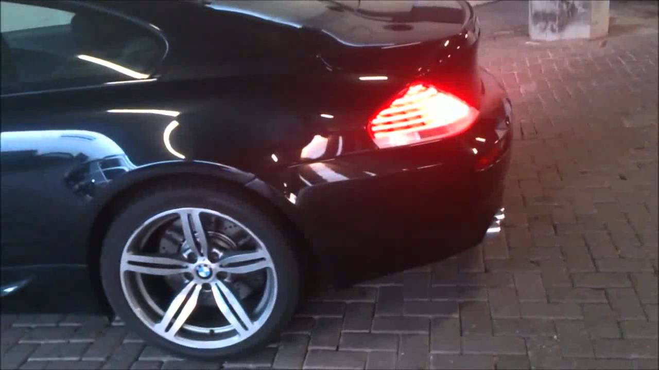 BMW M6 2005 V10 Parking garage sound muffler delete - YouTube