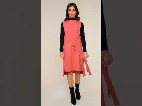 Video: CM4601 Sukienka-tunika bez rękawów - koralowa