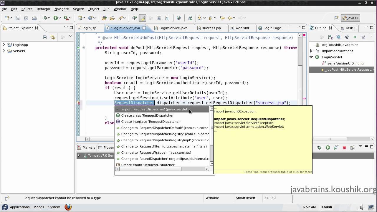Jsps and servlets tutorial 16 part 4 using requestdispatcher in jsps and servlets tutorial 16 part 4 using requestdispatcher in the mvc application java brains baditri Gallery