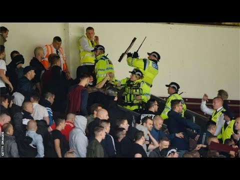Burnley vs Hannover hooligans crowd trouble - game abandoned