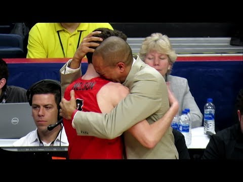 Emotional Moment with Tyler Nelson and Fairfield Coach Sydney Johnson - MAAC Championship - 03-05-18