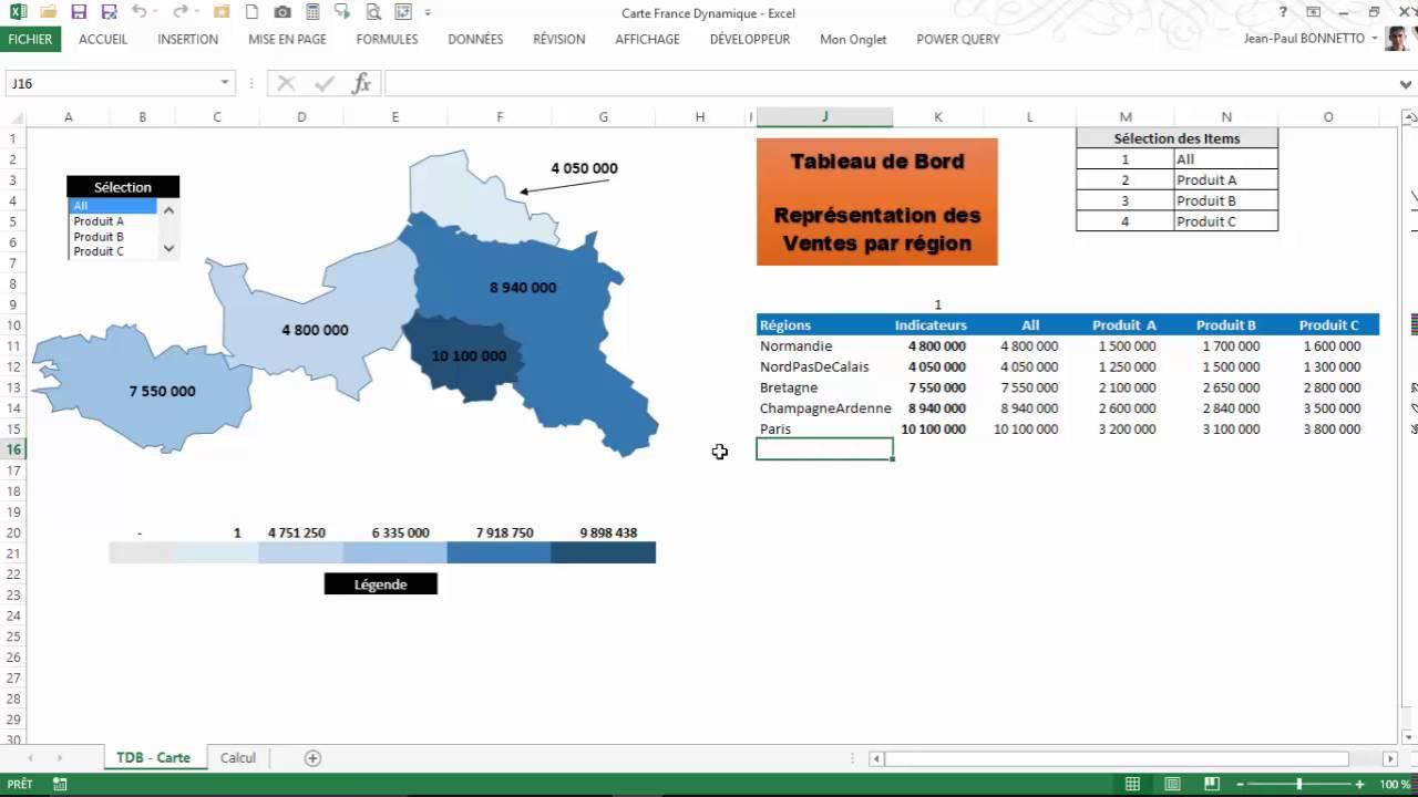 Excel Vba Tableau De Bord Avec Carte Dynamique Youtube