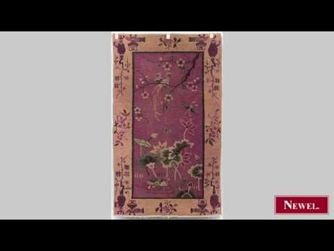Antique Oriental Chinese (Art Deco) style purple and gold