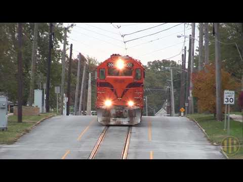 Freight Train Running Down the Middle of Street (Michigan City, Indiana)