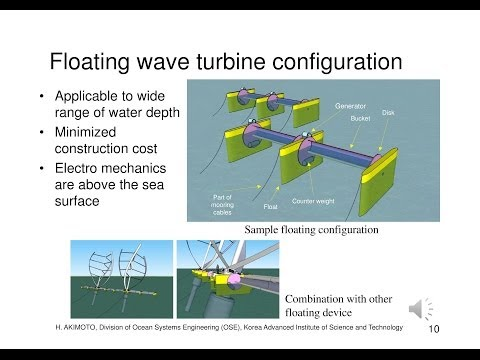 Rotational wave energy converter (single-bucket drag type wave turbine)