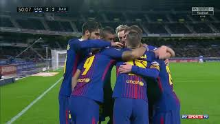 Real Sociedad vs Barcelona 2 - 4 Highlights with English Commentary 14/01/2018 HD