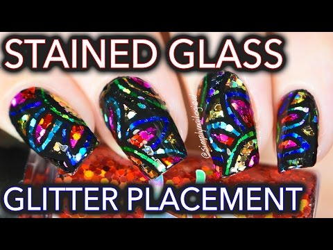 Stained glass glitter placement nail art