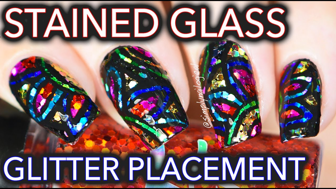 Stained glass glitter placement nail art - YouTube