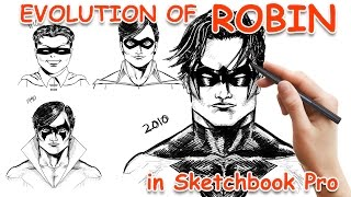 Drawing the evolution of Robin to Nightwing using Sketchbook Pro