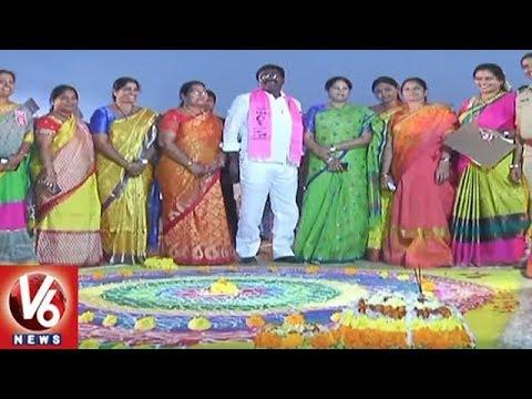 Sankranti Festival | MLA Puvvada Ajay Organizes Rangoli Competitions In Khammam | V6 News