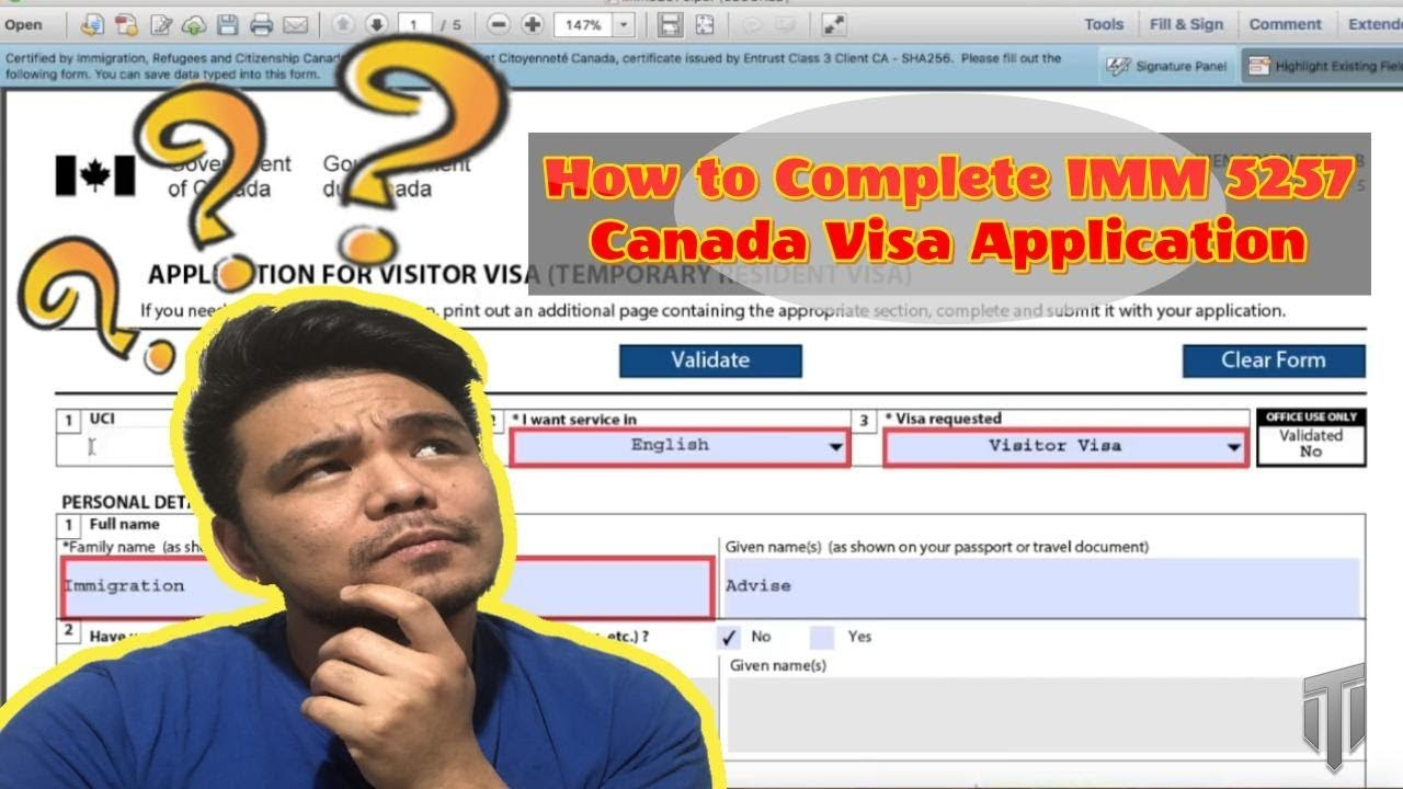 How To Complete Imm 5257 Canada Visa Application 2019 Youtube