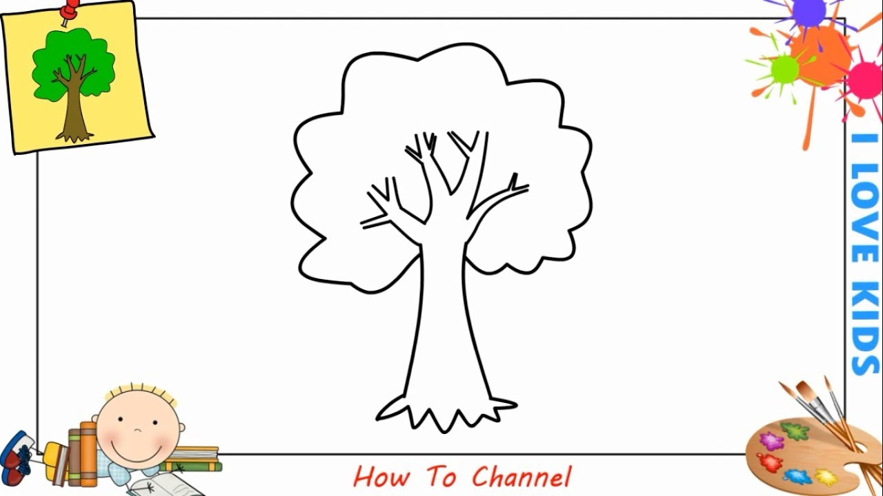 How to draw a tree EASY step by step for kids, beginners ...