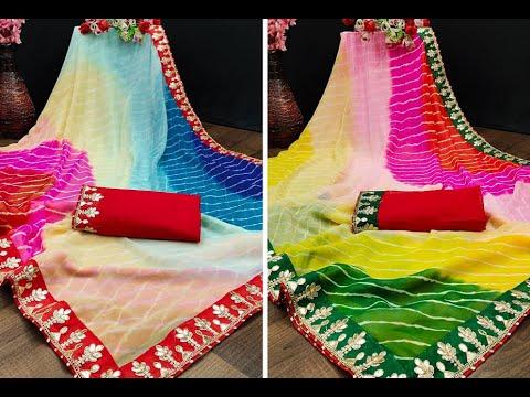 Beautiful Georgette Leheriya Sarees With Gota Patti Embroidery (2021)