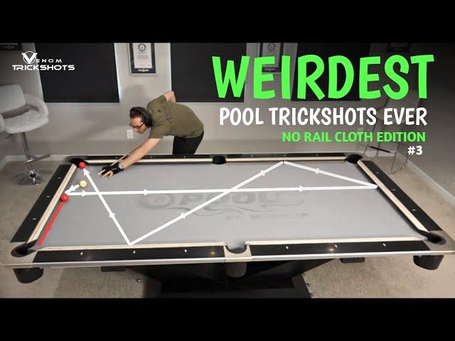 WEIRDEST POOL TRICKS EVER??! -- No Rail Cloth Billiards #3 with Venom Trickshots