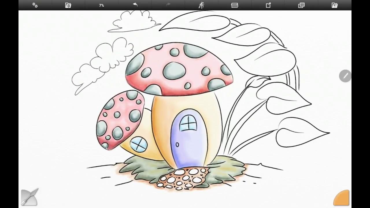 Artrage Mewarnai Gambar Peri Colouring A Mushroom