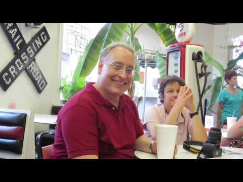 TAKING PAUSE TO RELAX IN CAFE DURING CARTHAGE, MISSOURI ART CRAWL JULY 26, 2013