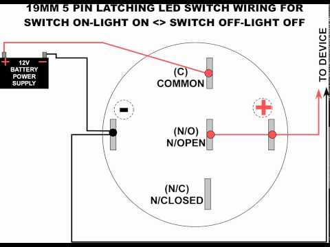 wiring diagram for led switch 19mm led latching switch wiring diagram - youtube