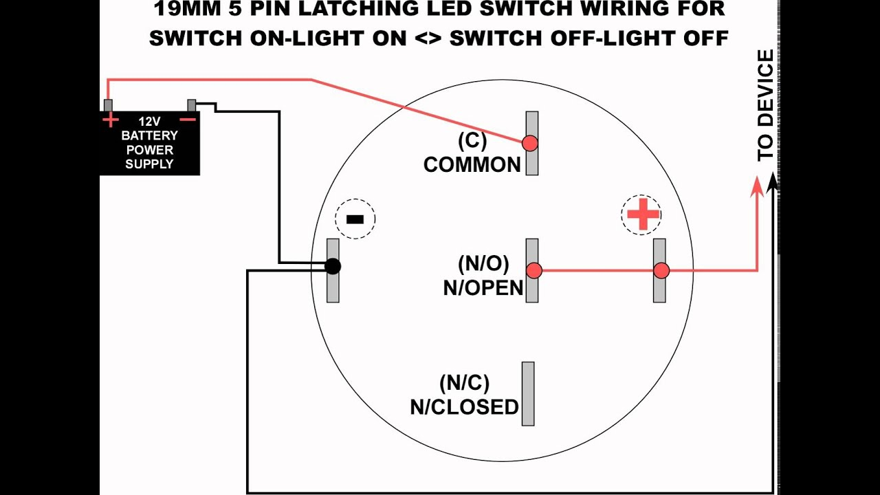 19mm led latching switch wiring diagram youtube Indak 5 Pole Ignition Switch Wiring Diagram 5 Wire Ignition Switch Diagram