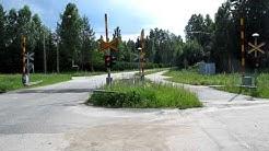 Museum train passed Kaleton level crossing in Keuruu, Finland (New camera)