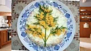 Салат мимоза - варианты праздничного украшения