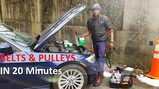 BMW E90 335i N55 Engine Belts & Pulleys in 20 Minutes or less  DIY