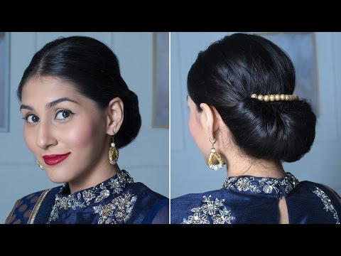 2 Minute Easy Roll & Tuck Bun - Festive Hairdos For Long Hair