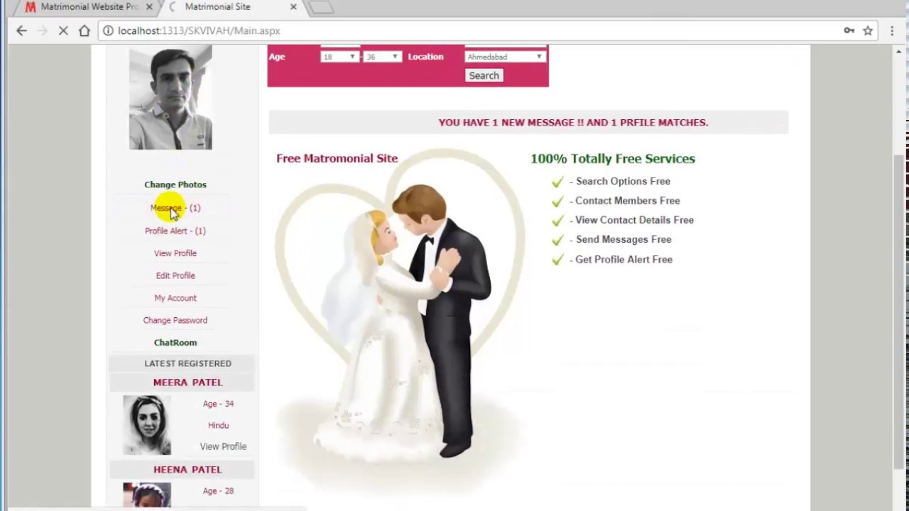 Matrimonial Website Project in ASP Net