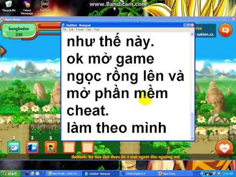 hướng dẫn hack game ngọc rồng online bằng phần mềm cheat engine.