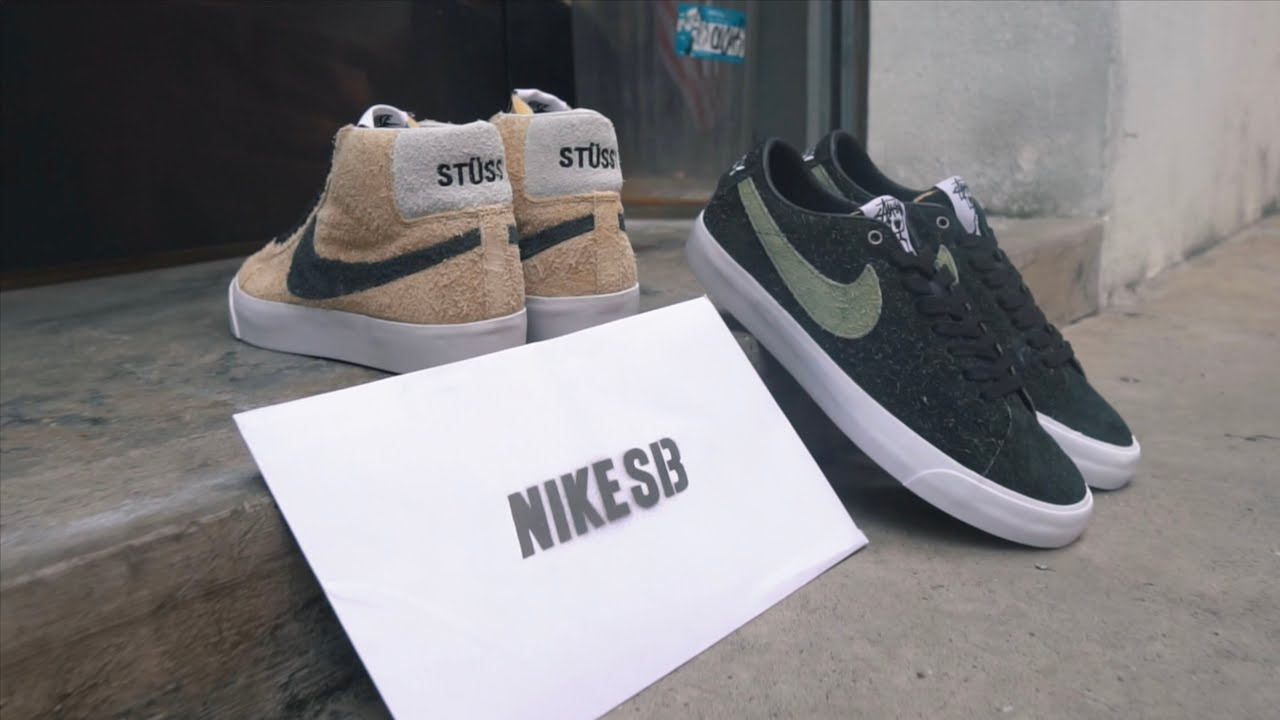 reputable site d1b23 514e4 A Closer Look At Stussy X Nike SB Blazer Mid & Low