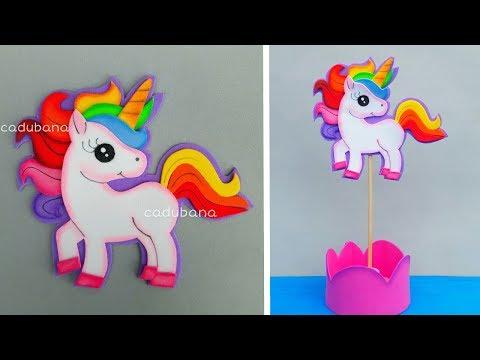Centro de mesa unicornio - Manualidades fáciles / CADUBANA