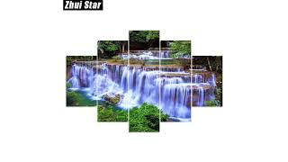 """Full Square Diamond Painting """"forest waterfall"""" Multi-picture Combination Mosaic Painting FREE SHIPP"""