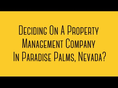 Looking For Property Management In Paradise, Nevada