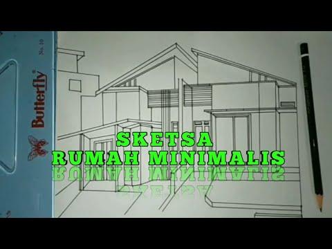 cara menggambar sketsa rumah minimalis •|| gambar teknik