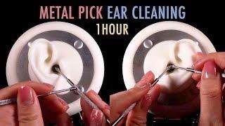 ASMR. 1 Hour of Ear Cleaning w/Metal Earpicks 🍯(No Talking)