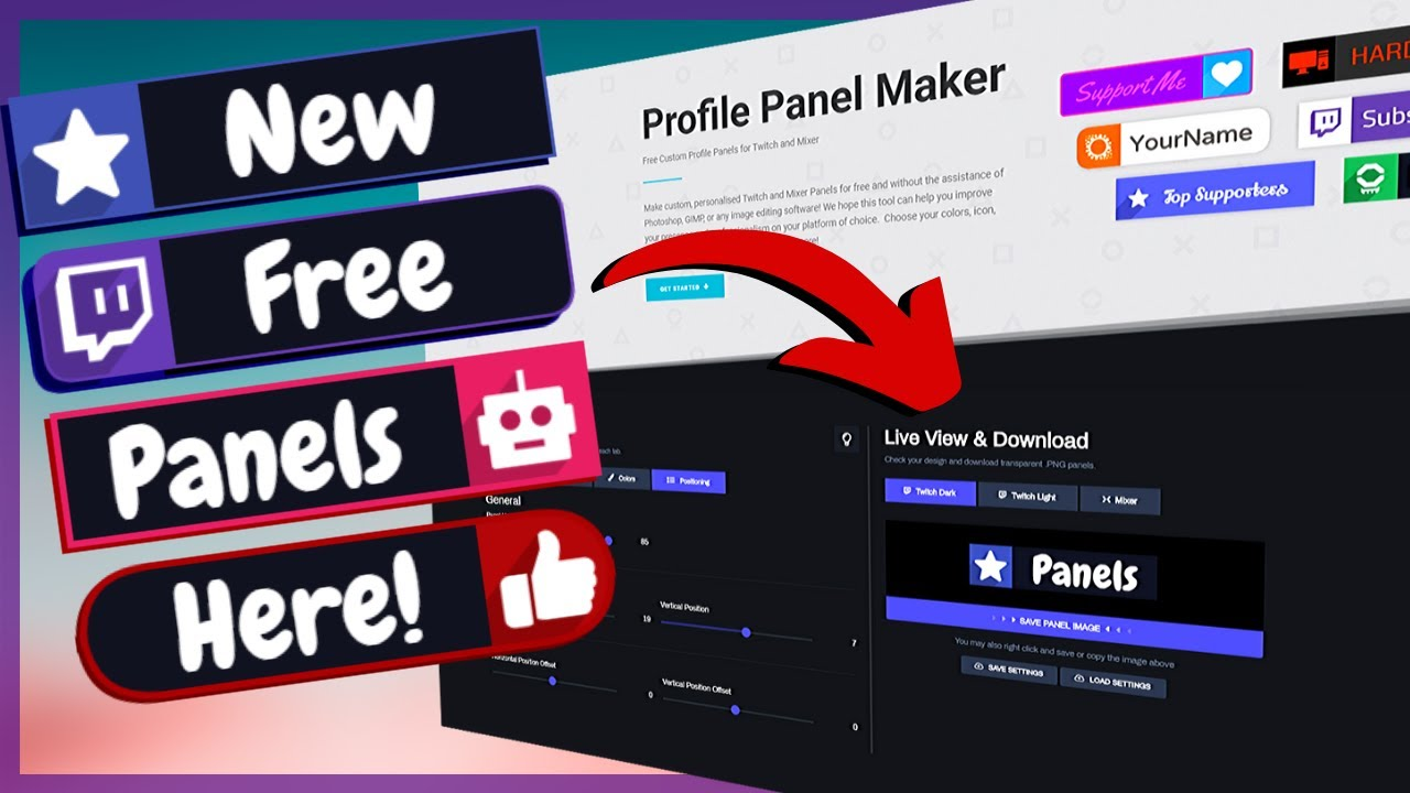 Super Easy! Brand New FREE Custom Panel Maker For Twitch and Mixer!