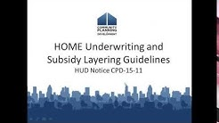 HOME Underwriting and Subsidy Layering Guidelines - HUD Notice CPD-15-11 Webinar -  7/13/16