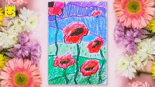 Как нарисовать полевые маки пастелью - урок рисования для детей от 4 лет, как нарисовать поэтапно