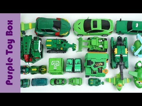 23x Green Transformer Robot Toys Collection, Animal And Car Transformers
