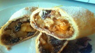 Штрудель Яблочный штрудель Рецепт штруделя с большим количеством начинки Штрудель с яблоками