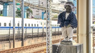 "Japan Rail's ""Little Weeing Monk"" Statue inside a Tokyo Train Station"