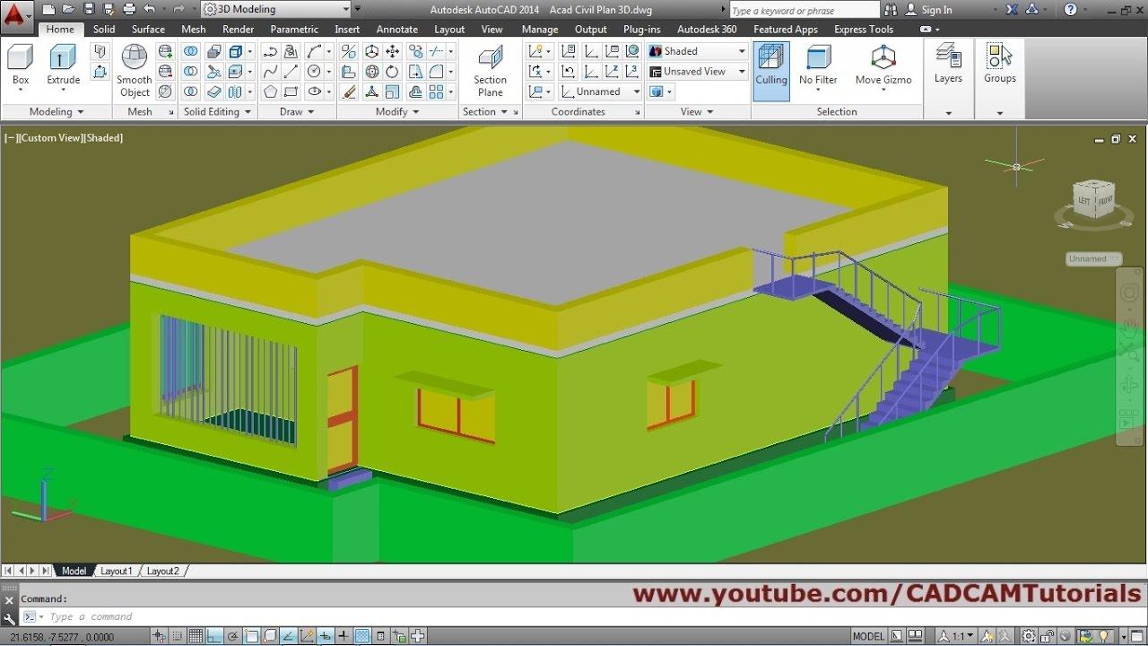 Autocad 3d House Modeling Tutorial Beginner Basic 4